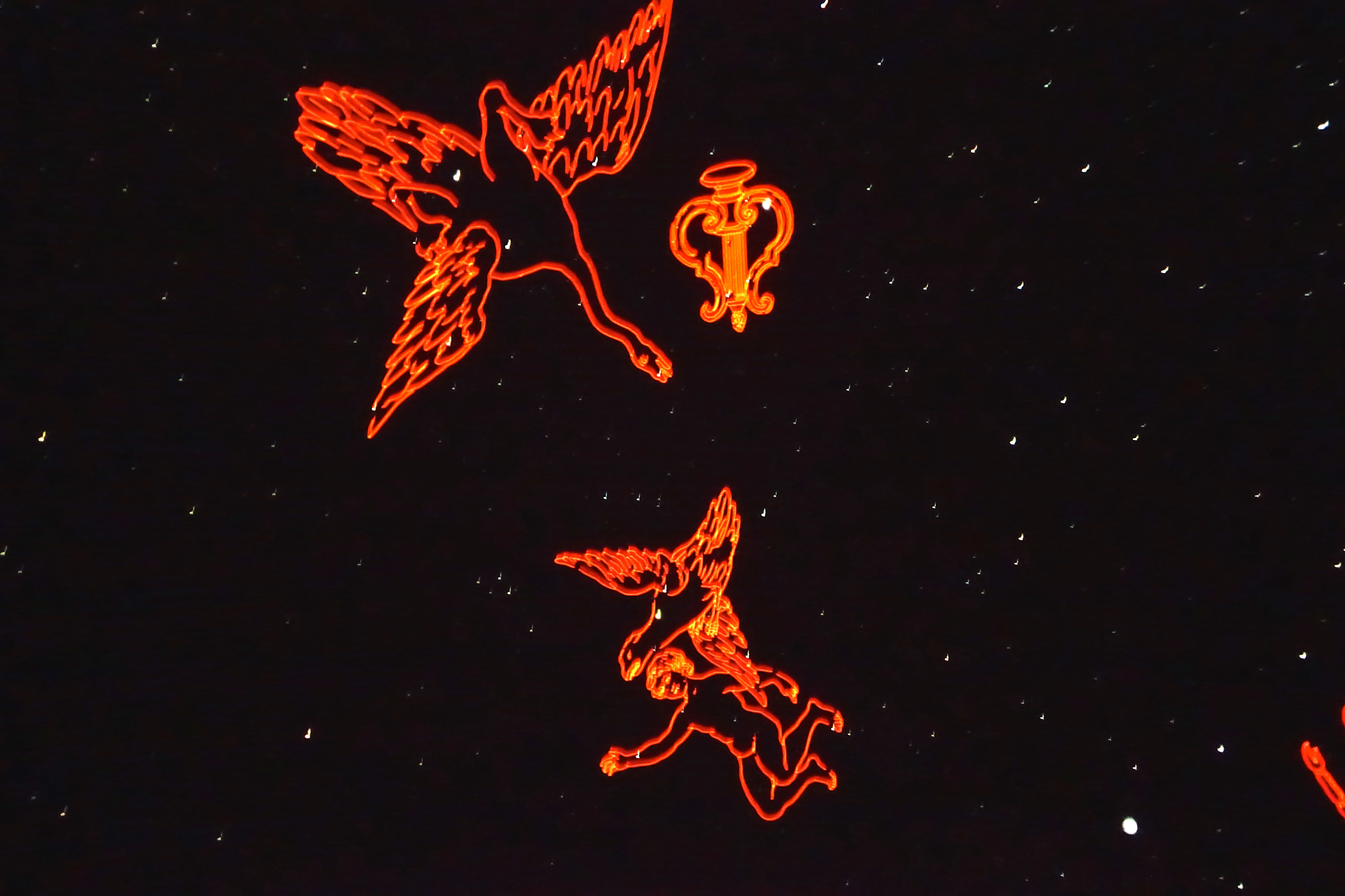 Constellations outlined at the Roger Chaffee Planetarium