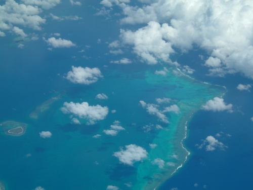 Flying over South Pacific Island