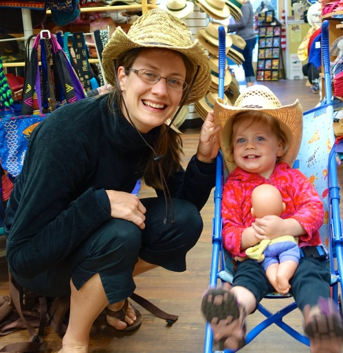 Mom and daughter with cowboy hats