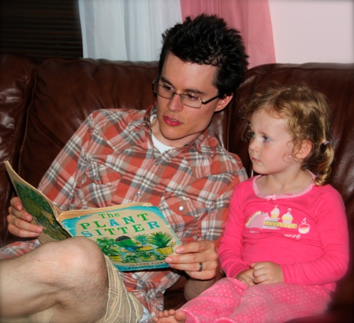 Reading a book to a child