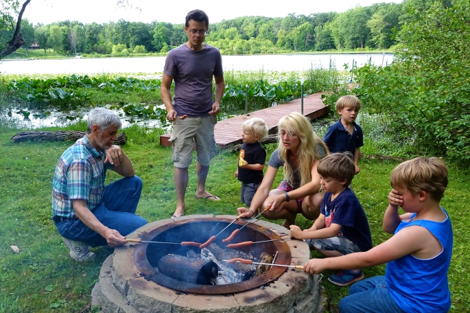 Roasting Hotdogs around the campfire