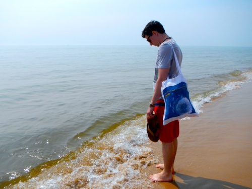 Testing the water with toes at Lake Michigan Shoreline