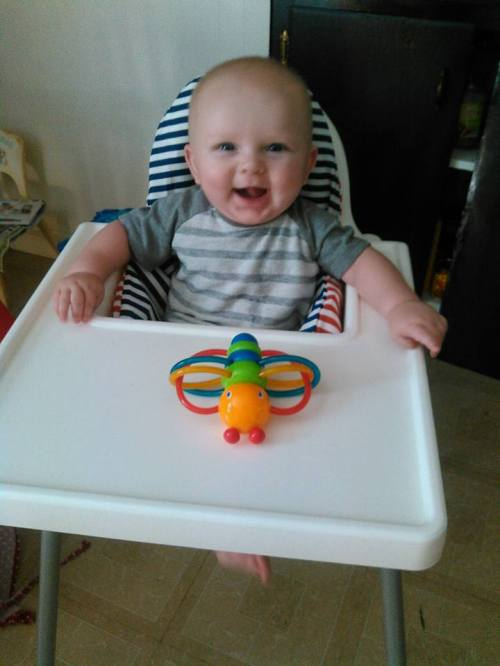 Baby with toy on a high chair seat
