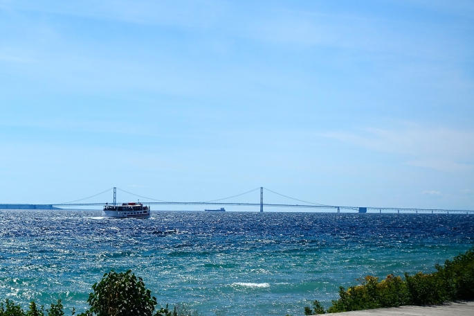 Boats and the Mackinac Bridge
