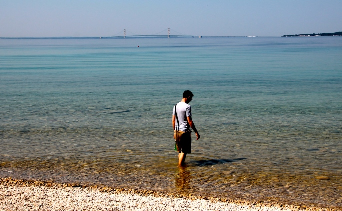 Clear Waters of Mackinac Island. Bridge in background