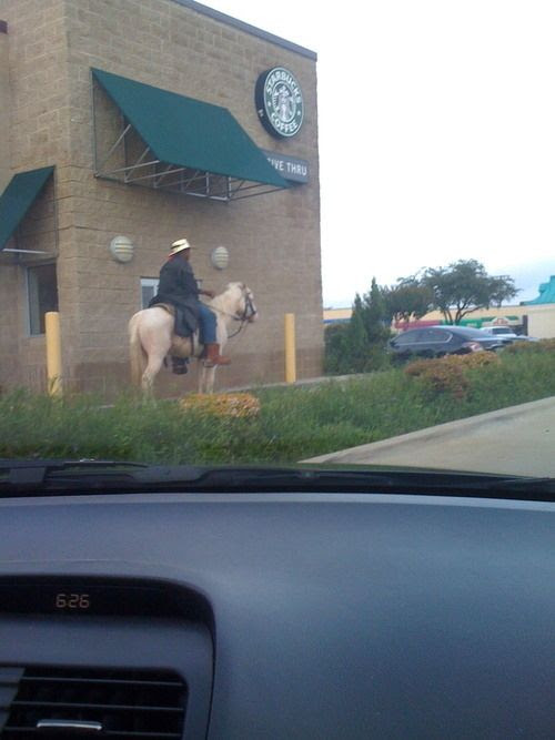 Cowboy riding to Starbucks