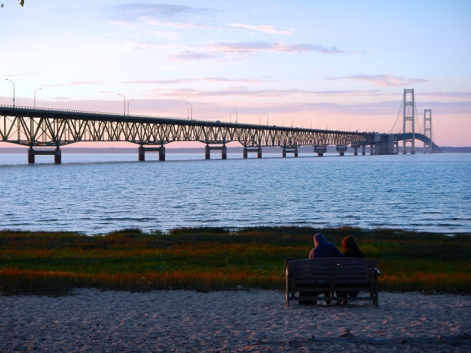 Evening at Mackinac Bridge