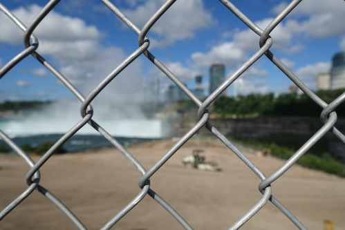 Fence blocking view of Horseshoe Falls 2015