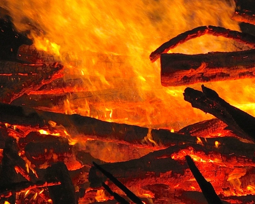 Fire. Huge Easter Bonfire in Germany