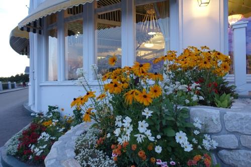 Flowers adorning The Grand Hotel on Mackinac Island