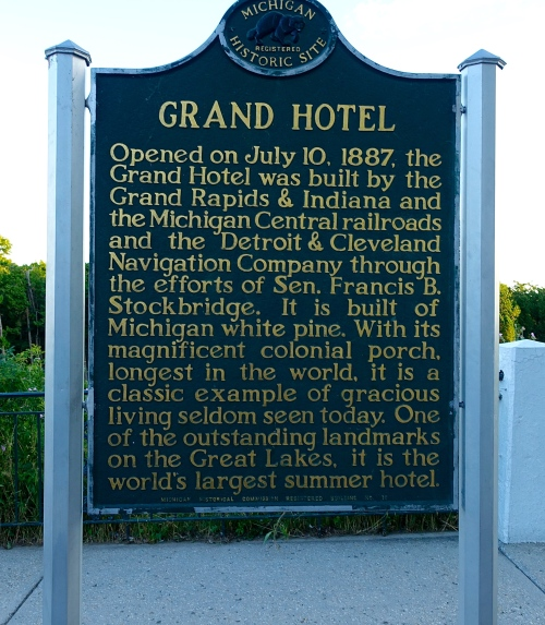 Information Sign on Grand Hotel at The Grand Hotel on Mackinac Island