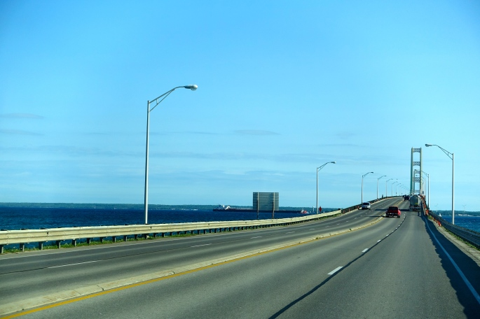 Long expanse of Mackinac Bridge