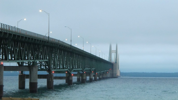 Mackinac Bridge in Clouds