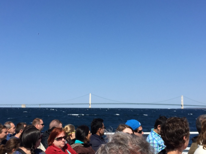 On Ferry to Mackinac Bridge