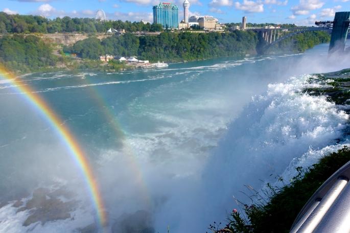 Rainbows over American Falls at Niagara Falls