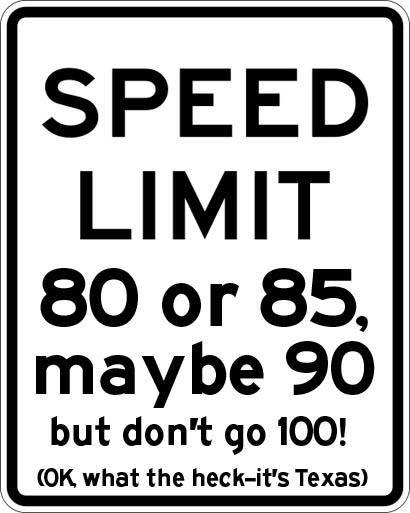 Speed Limit Sign in Texax