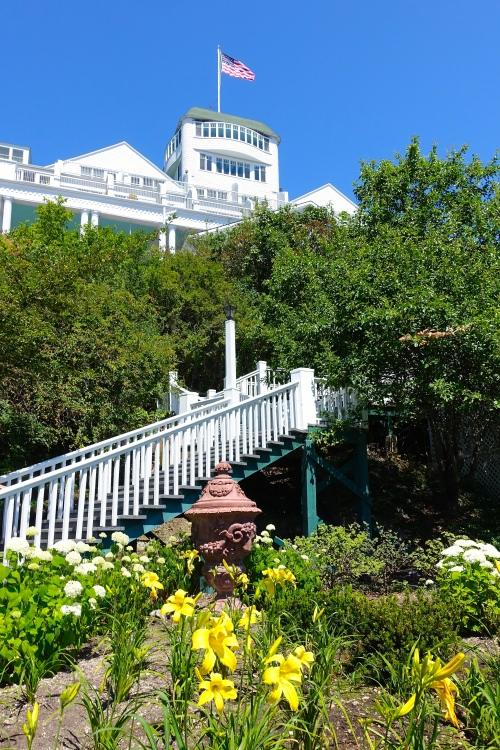 Stairway up at The Grand Hotel on Mackinac Island