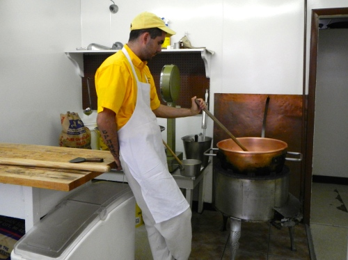 Stirring Fudge on Mackinac Island