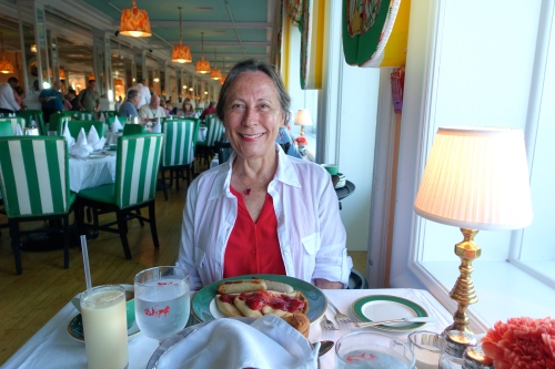 Strawberry Rhubarb Crepes and Sausage for breakfast at The Grand Hotel on Mackinac Island