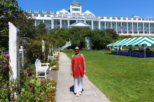 Strolling in the gardens at The Grand Hotel on Mackinac Island