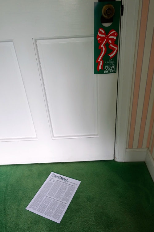 Times Digest Newspaper under the door at The Grand Hotel on Mackinac Island