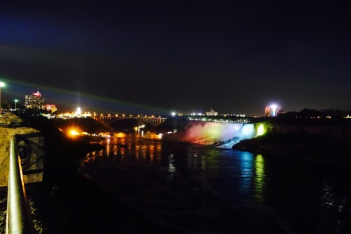 American Falls with Colored Lights