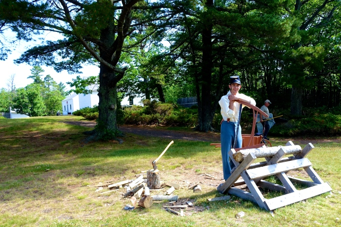 Chopping Wood at Fort Wilkins
