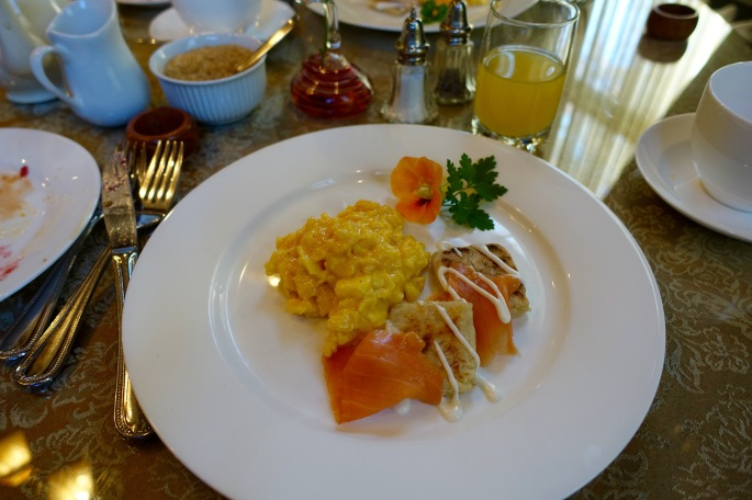Creamy Eggs and Salmon at The Old Rectory. Stratford