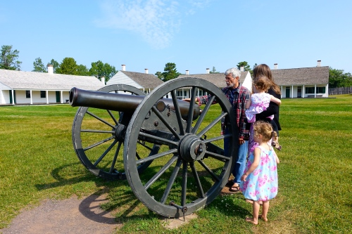 Discussing Cannon at Fort Wilkins