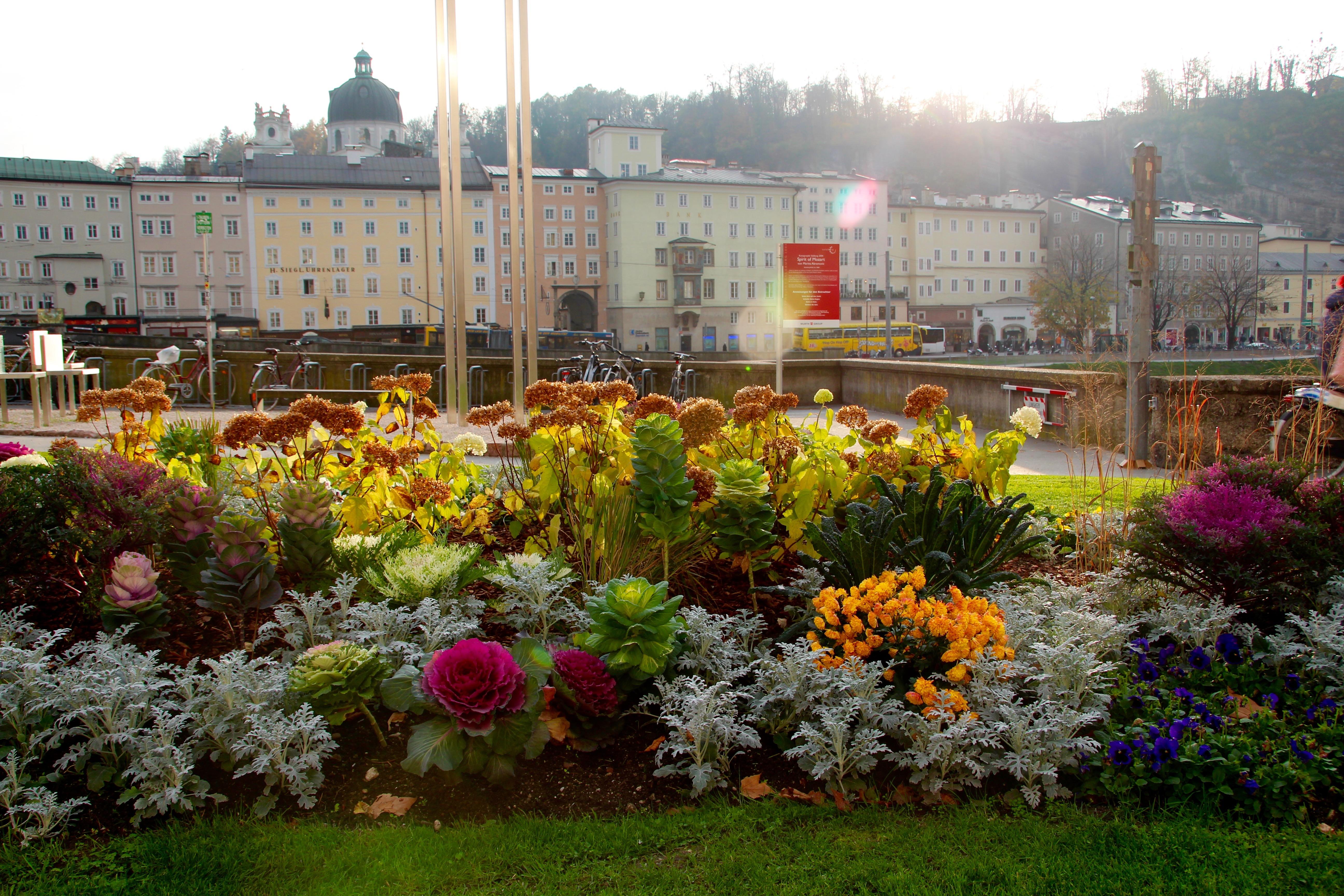 Gardens outside Sacher Hotel. Salzburg, Austria
