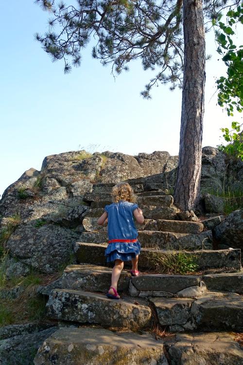 Little Girl climbing Stone Steps. Keweenaw Peninsula
