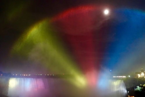 Moon through mist at Niagara Falls