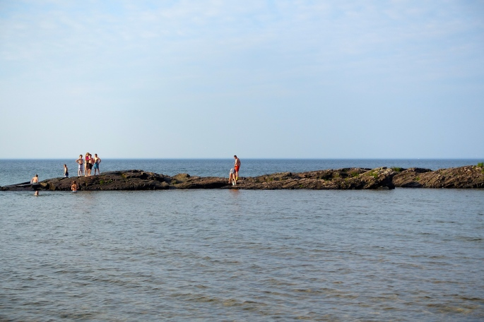 Playing on the rocks at McCarty's Cove