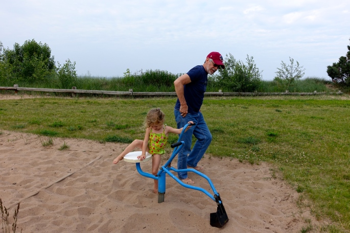 Playing with digger at McCarty's Cove