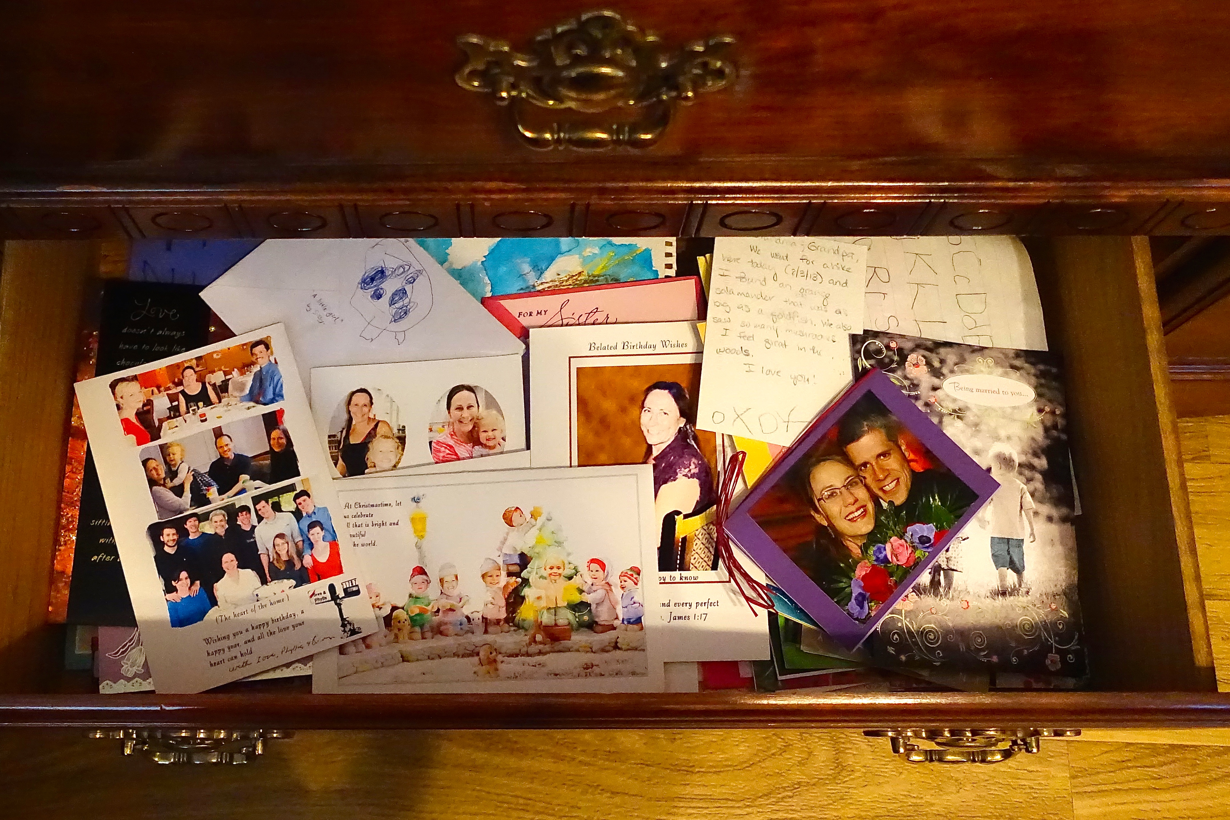 Drawer of greeting cards