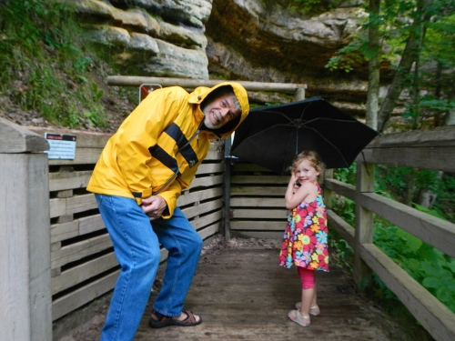 Grandpa and grand daughter at Munising Falls