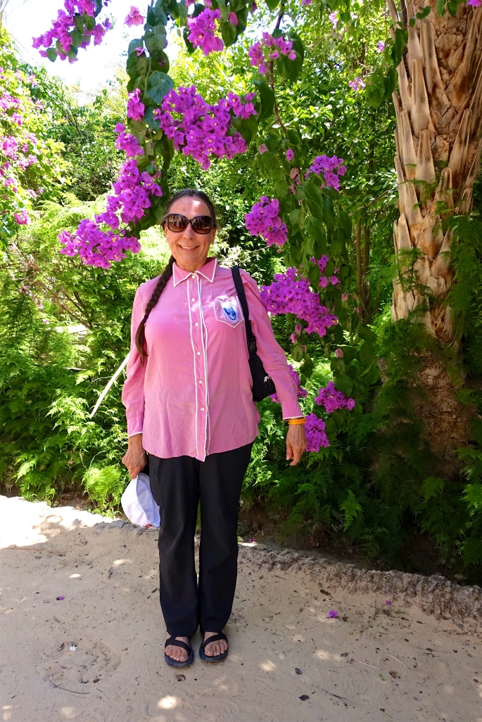 Kathi beside Bouganvillea
