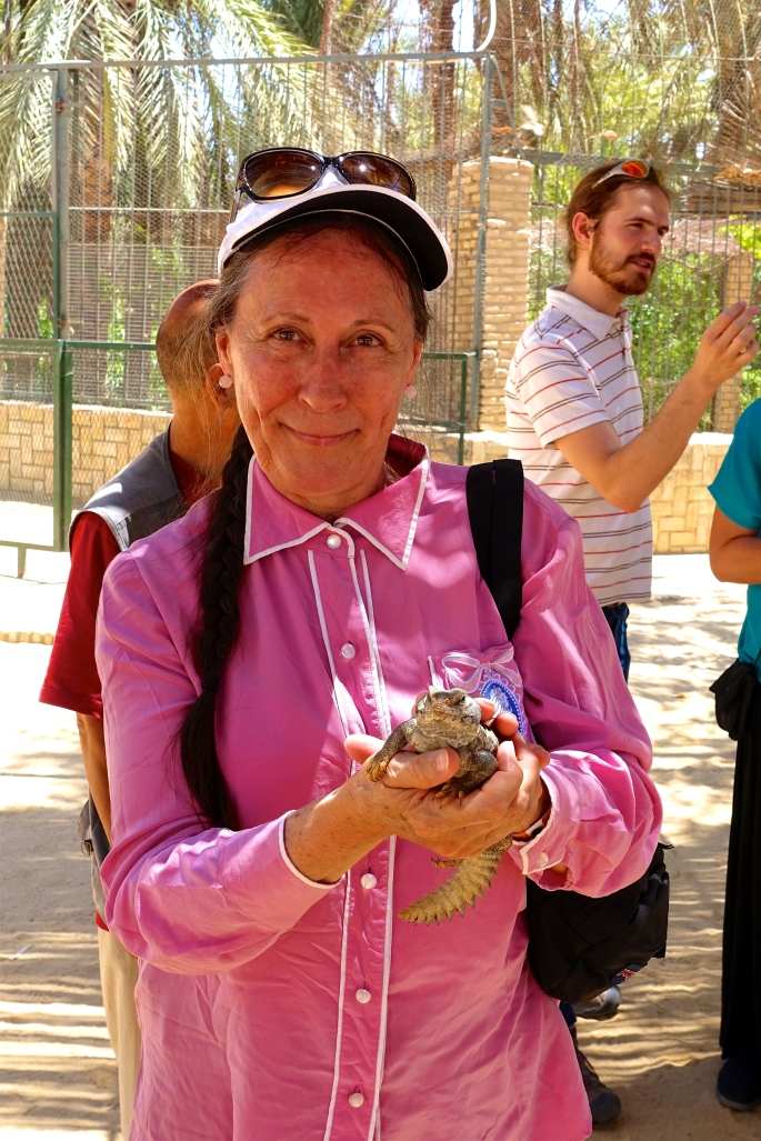 Kathi holding lizard at a Tunisian Zoo