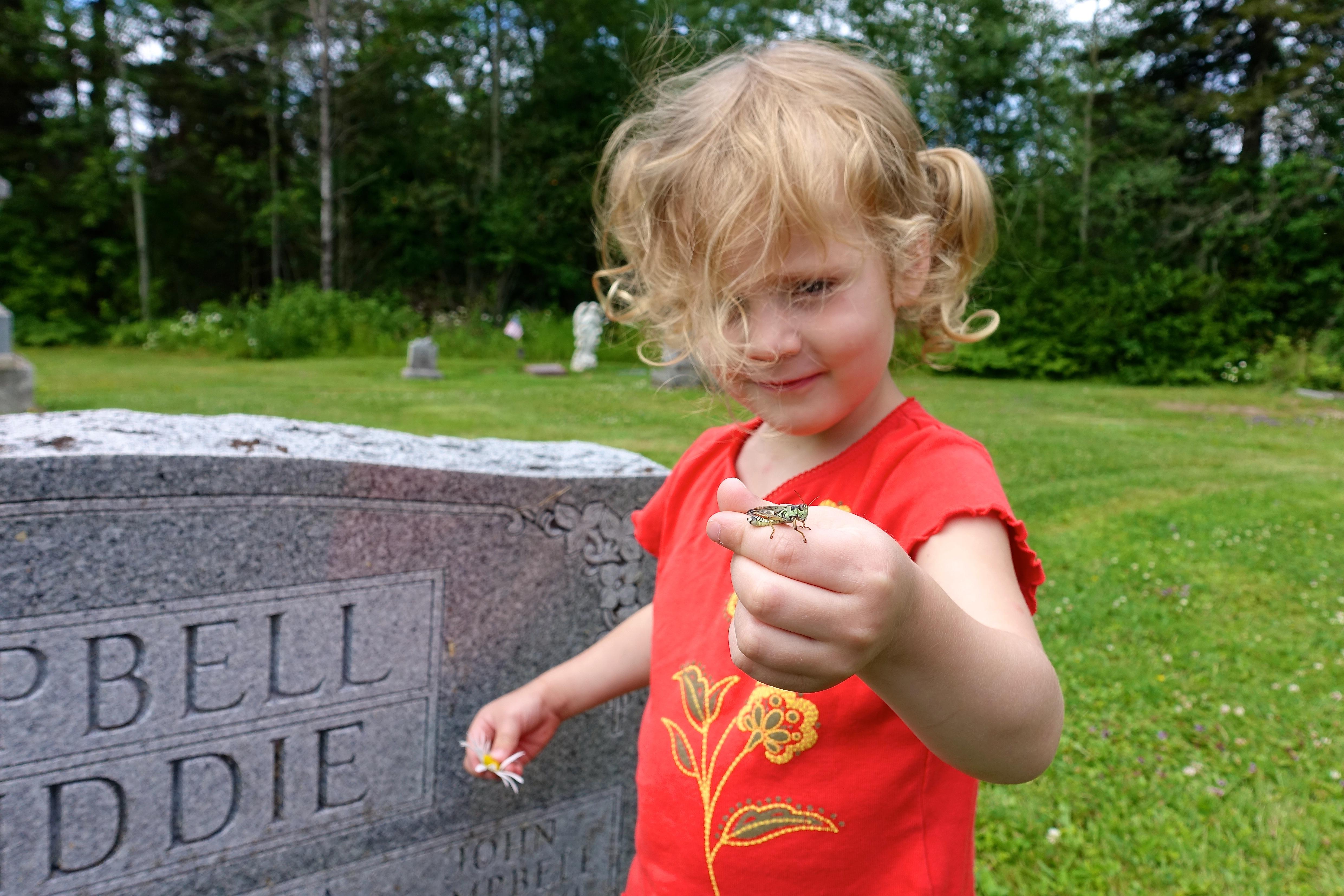Little Girl with Grasshopper