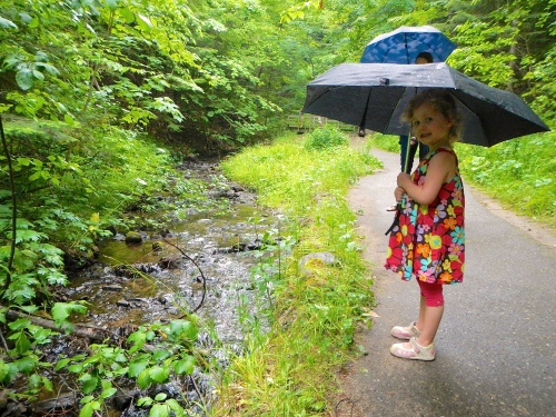 Little girl with umbrella at Munising Falls 5
