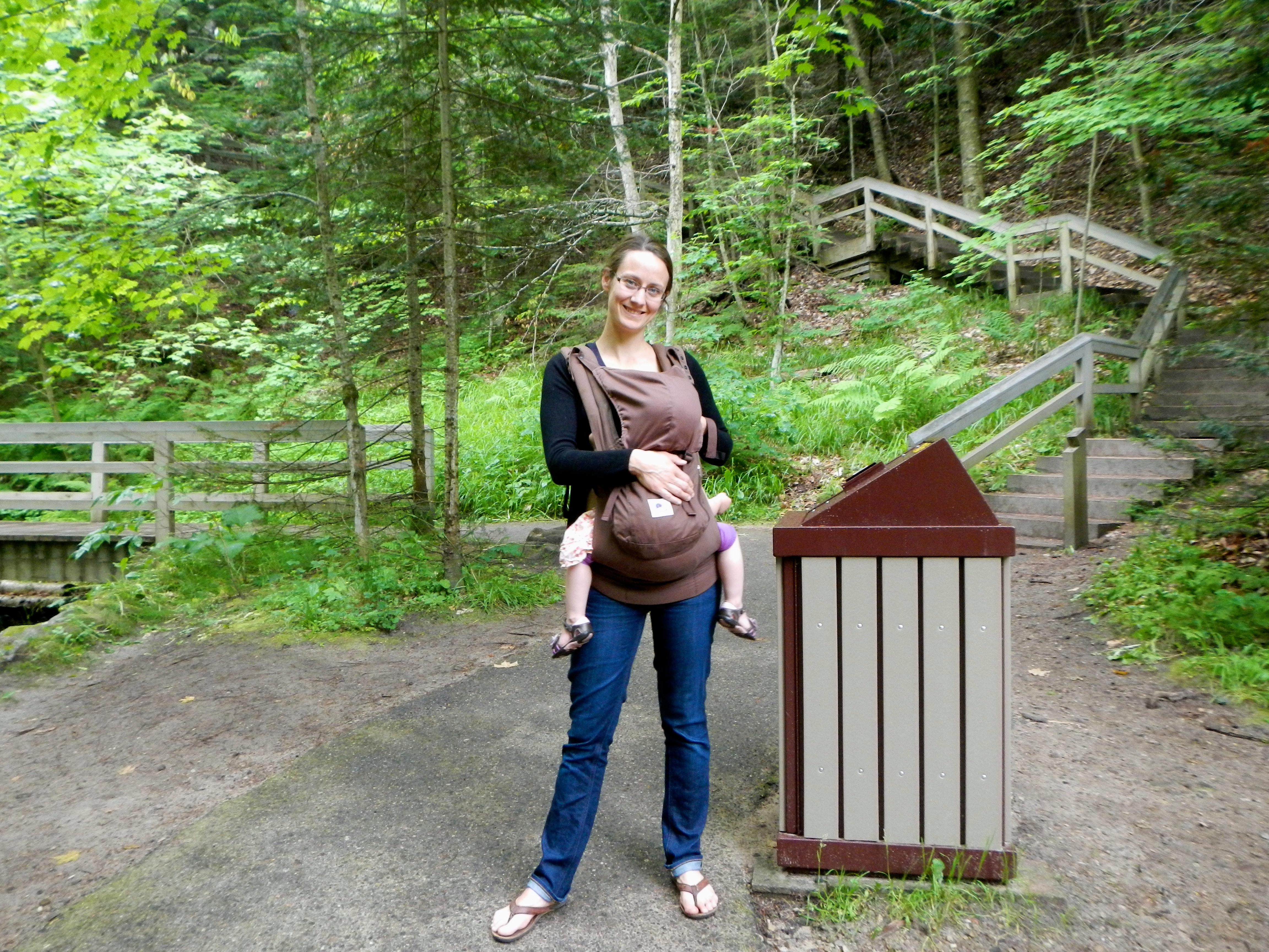 Mother and baby at Munising Falls
