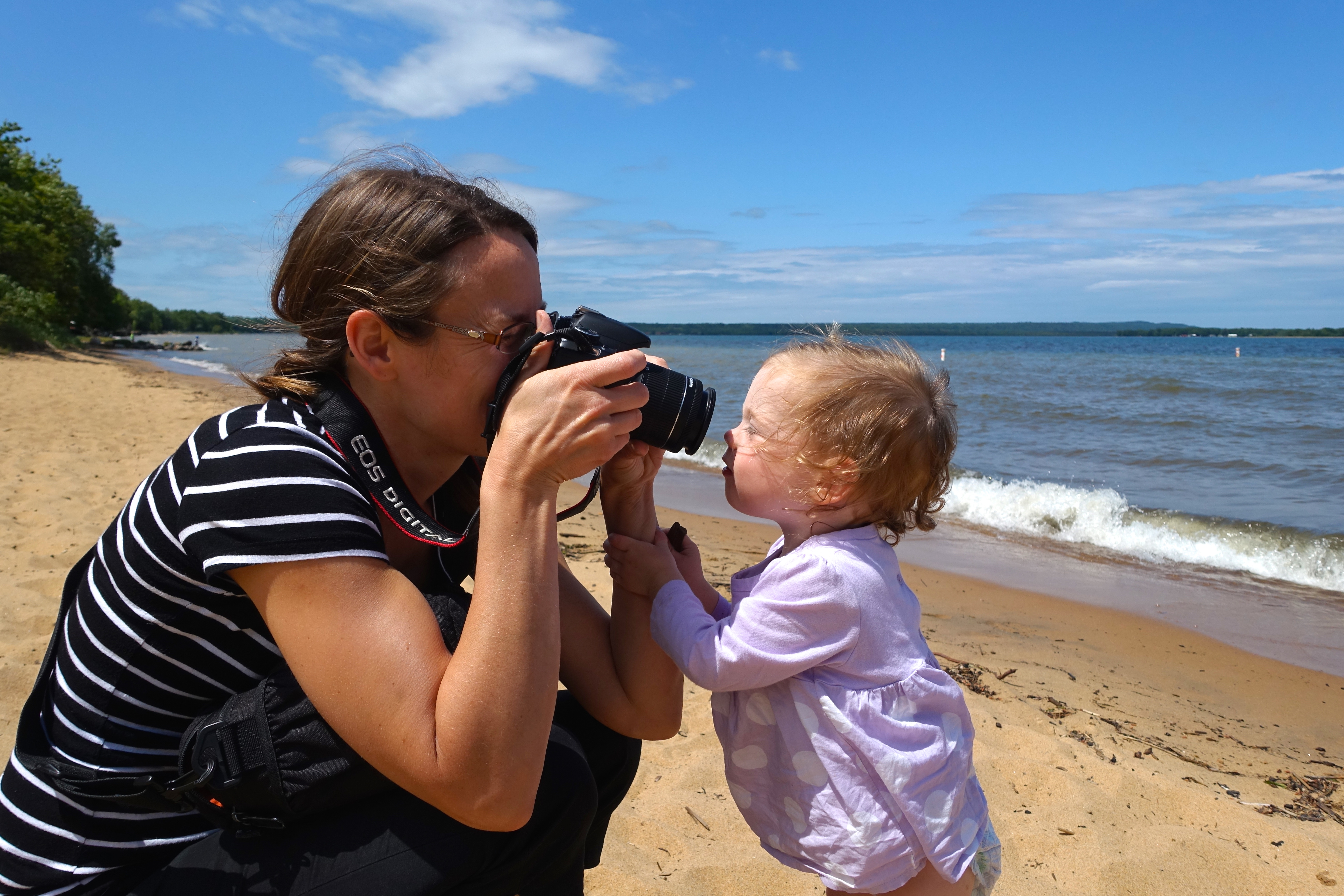 Mother and Baby with camera