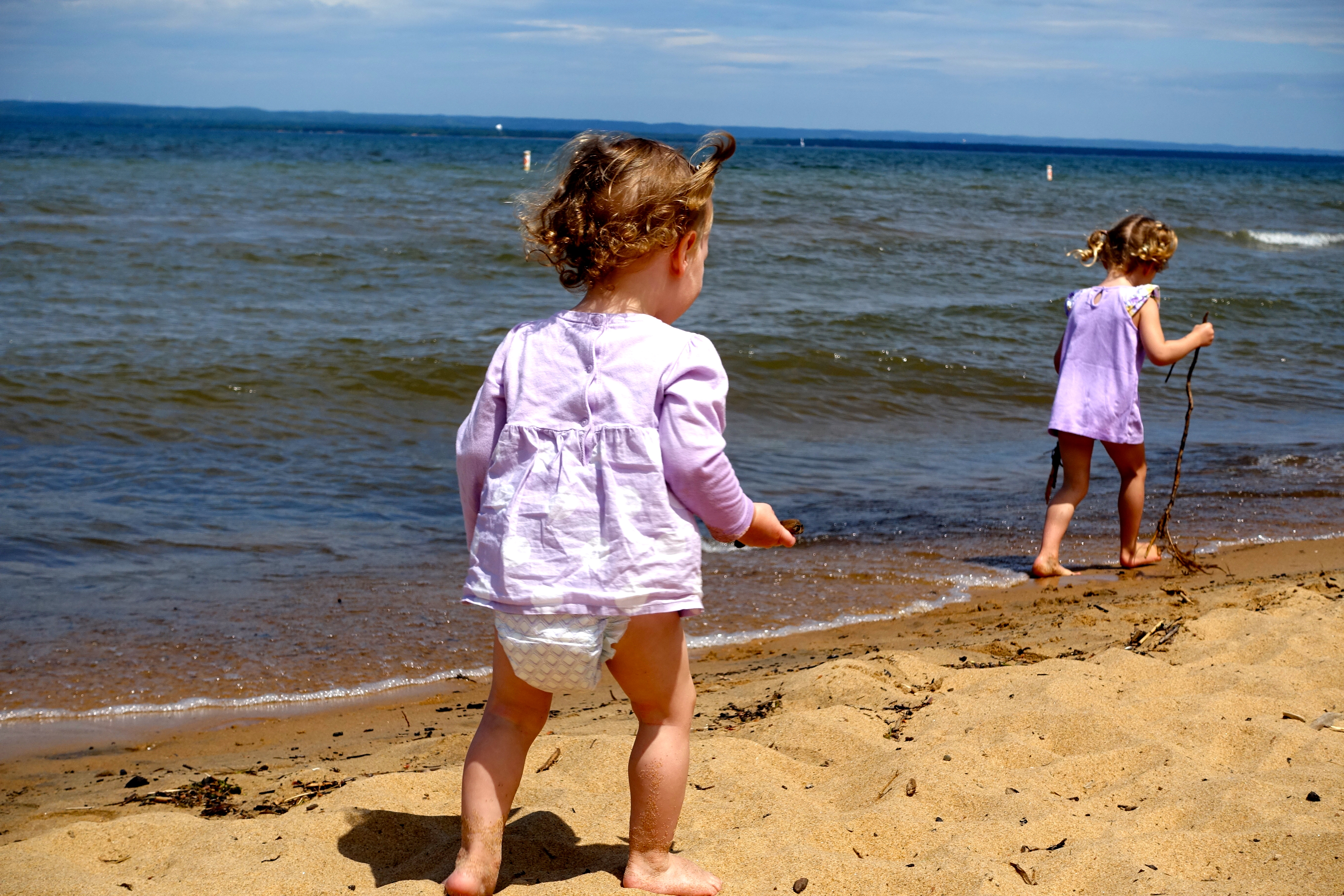 Playing near the water at Brimley State Park