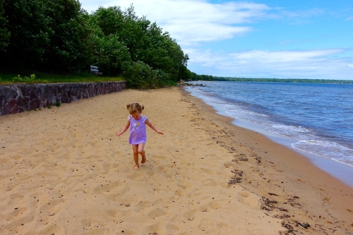 Running on beach at Brimley State Park
