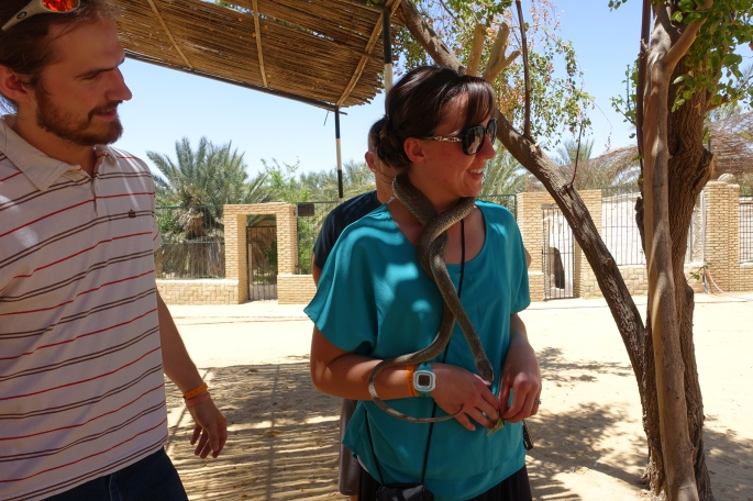 Shannon with snake at a Tunisian Zoo