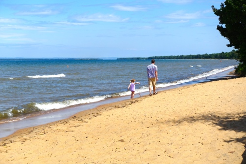 Sugar sand beach at Brimley State Park