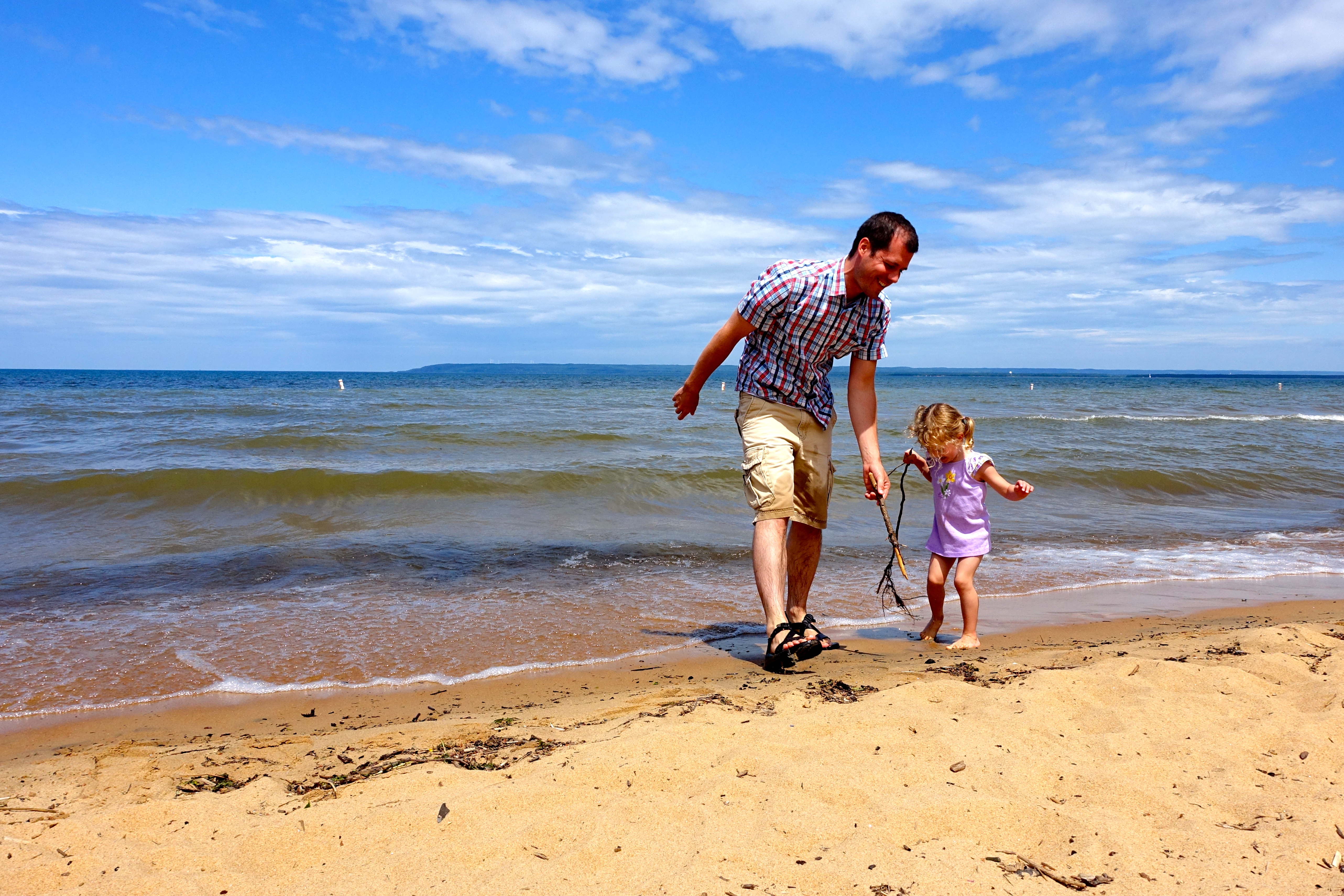 Walking down the beach at Brimley State Park