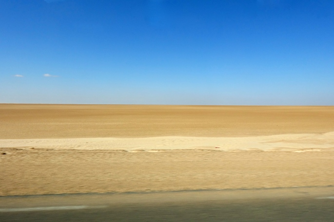 Flat barren desert in Tunisia
