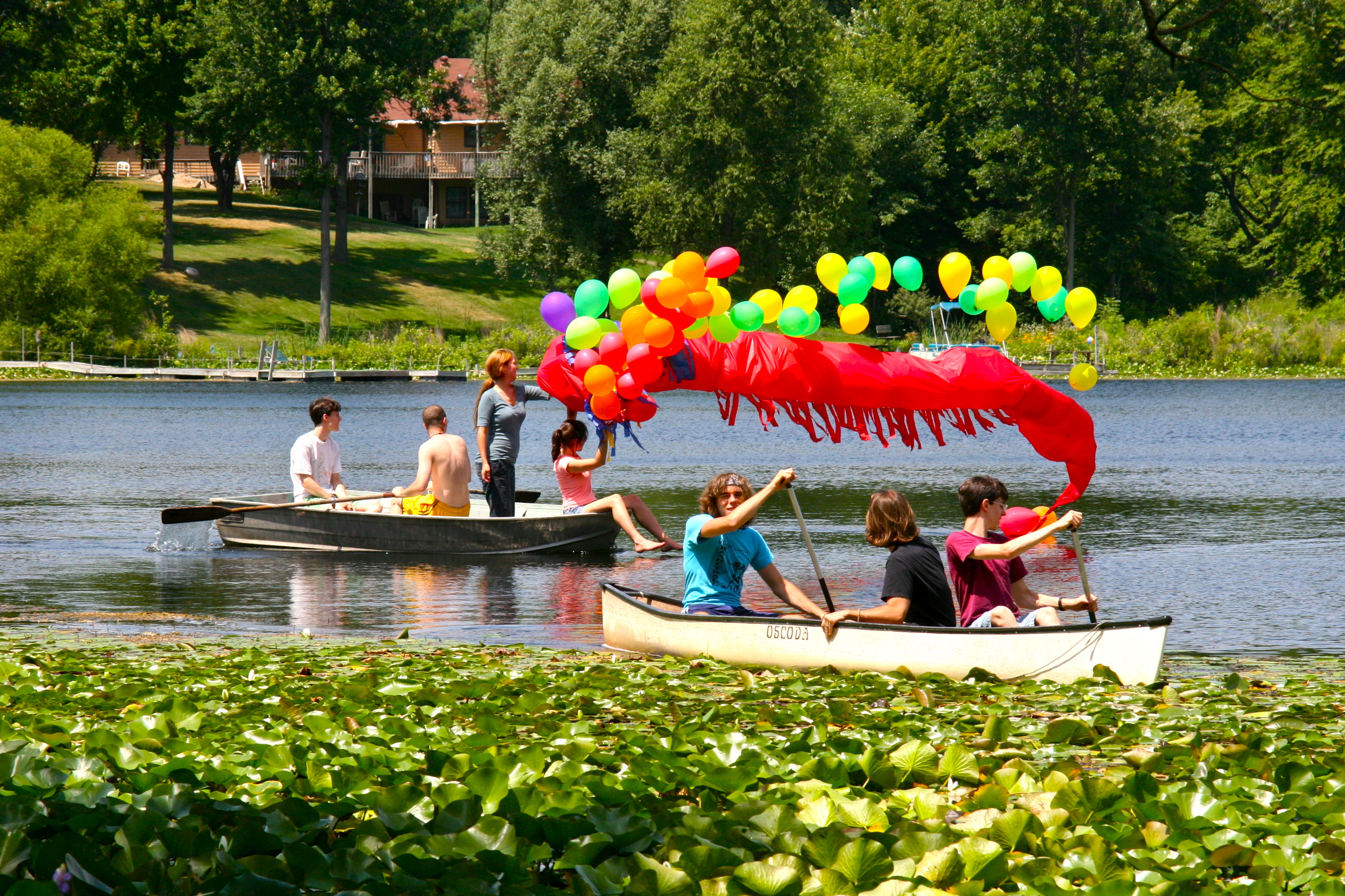 Great balloon Dragon on lake