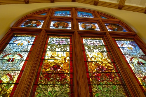 Stained Glass Windows at Hackley Library